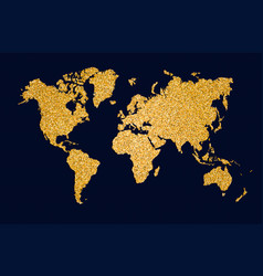 world map gold glitter art concept vector image vector image