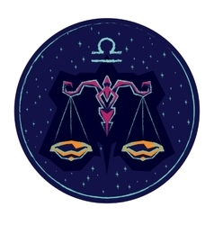 Zodiac sign libra on night starry sky background vector