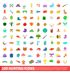 100 hunting icons set cartoon style vector image
