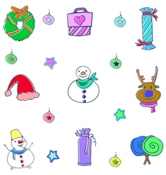 Cute christmas object doodle set vector