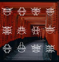 12 unique flat circle badges vector