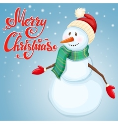 Cheerful christmas snowman vector