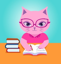 Pink cat do homework vector