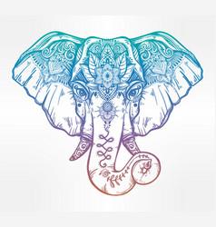 decorative elephant with ethnic lotus ornament vector image