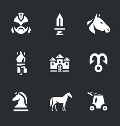 Set of trojan horse icons vector