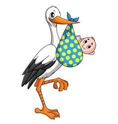 Stork with newborn baby vector