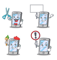 Set of iphone character with sign board artist vector