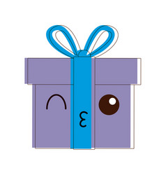 Kawaii gift box wrapped ribbon bow decoration vector
