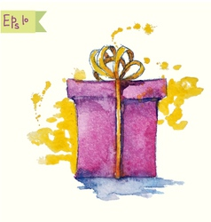 Watercolor painting of a gift box vector