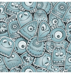 Alien and monsters seamless pattern vector