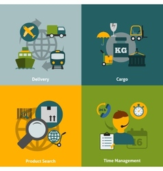 Logistic flat icons composition vector