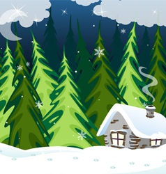 Old brick house in the winter wood vector