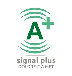 Logo signal letter a plus green alphabet wireless vector