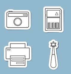 Camera accessories line icon set vector