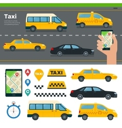 App for booking taxi different types vector