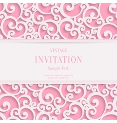 Pink 3d vintage valentines or invitation vector