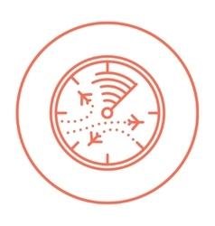 Radar screen with planes line icon vector image