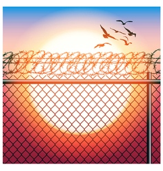 Fence with barbed wire and birds vector