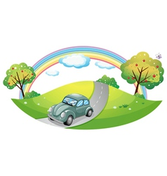 A car running at the road vector image vector image