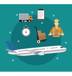 Airplane transport items international delivery vector