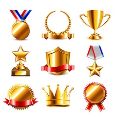 Awards and medals icons set vector image vector image