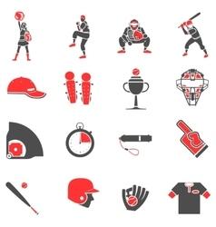 Baseball flat icons set vector image