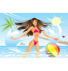 Beautiful woman going out of the sea vector image vector image