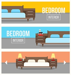 Bedroom interior design banners vector image vector image