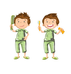 boy brushing teeth and combed vector image vector image