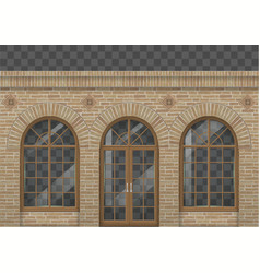brick facade with arches vector image vector image