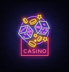 casino is a neon sign neon logo emblem gambling vector image