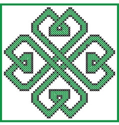 Celtic endless knot in clover with hearts element vector image vector image