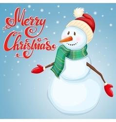 Cheerful christmas snowman vector
