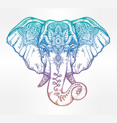 decorative elephant with ethnic lotus ornament vector image