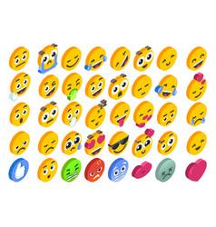 emoji set emoticon reactions social button vector image
