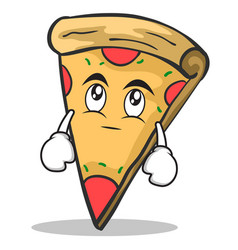 Eye roll pizza character cartoon vector