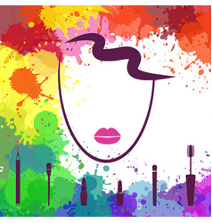 face of beautiful girl logo template makeup vector image