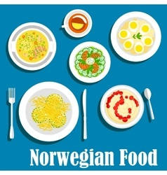 Healthy breakfast of norwegian cuisine flat icon vector image