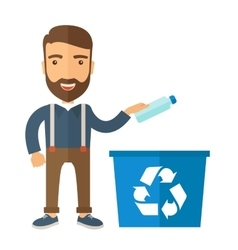 Man throwing plastic container into recycle can vector image vector image