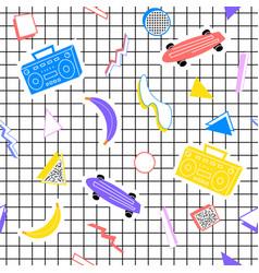 Memphis pattern skateboard recorder banana figures vector
