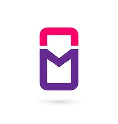Mobile phone app letter m logo icon design vector