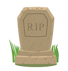 Old gravestone with crackstomb on white background vector