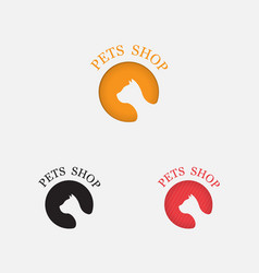 pets shop icon designcat logo abstract design vector image