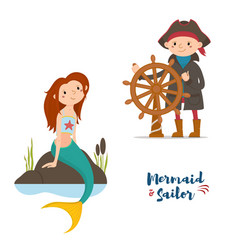 sailor captain and mermaid kids vector image