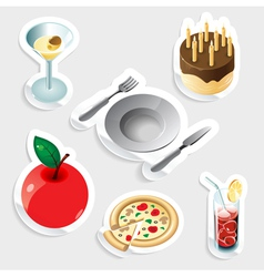 Sticker icon set for food and drinks vector image vector image