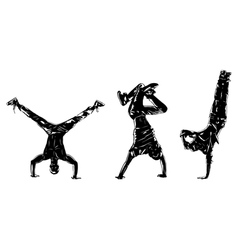 Three modern dancers silhouettes vector