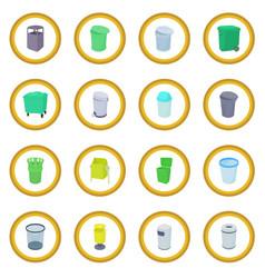 Trash bin set icon circle vector
