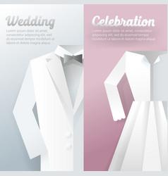 Wedding ceremony invitation card paper cut vector