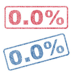 00 percent textile stamps vector image vector image