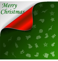 Merry Christmas green background vector image